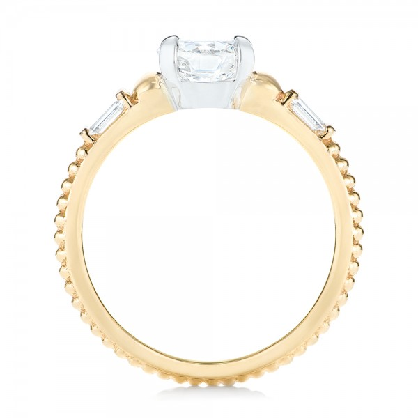Custom Two-Tone Three Stone Diamond Engagement Ring - Finger Through View