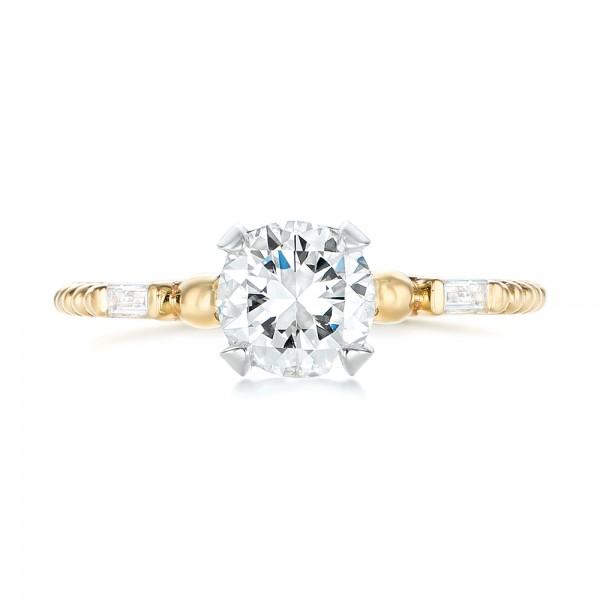 Custom Two-Tone Three Stone Diamond Engagement Ring - Top View