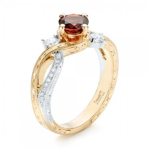 Custom Two-Tone Three Stone Garnet and Diamond Engagement Ring