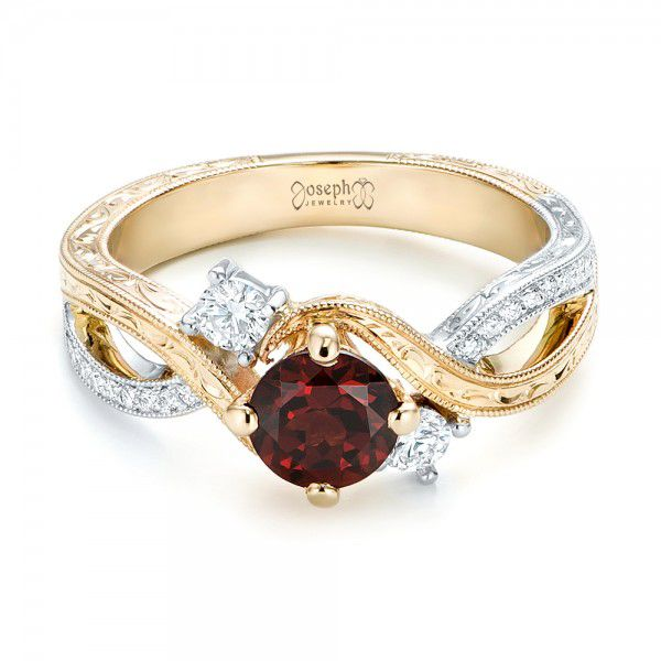 14k Yellow Gold And 14K Gold Custom Two-tone Three Stone Garnet And Diamond Engagement Ring - Flat View -  103007
