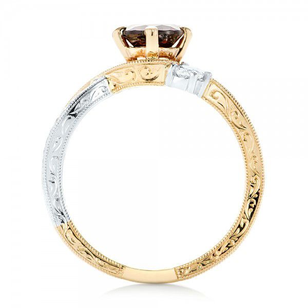 14k Yellow Gold And 14K Gold Custom Two-tone Three Stone Garnet And Diamond Engagement Ring - Front View -  103007