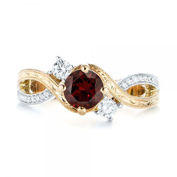 14k Yellow Gold And 14K Gold Custom Two-tone Three Stone Garnet And Diamond Engagement Ring - Top View -  103007
