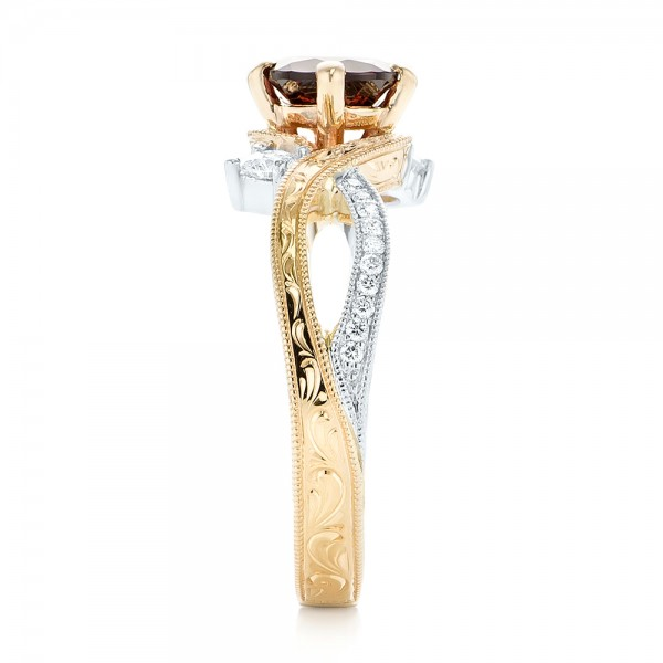 Custom Two-Tone Three Stone Garnet and Diamond Engagement Ring - Side View