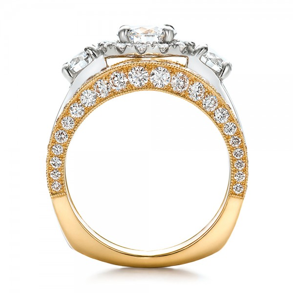 Estate TwoTone Wedding and Engagement Ring Set 100619