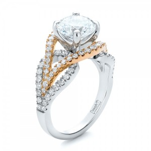 Custom Two-Tone Wrapped Shank Diamond Engagement Ring