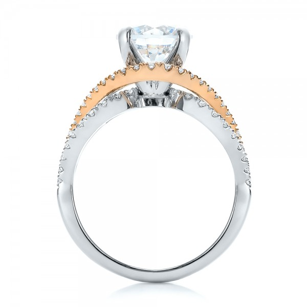 Custom Two-Tone Wrapped Shank Diamond Engagement Ring - Finger Through View
