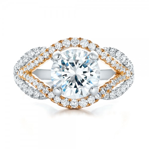 Custom Two-Tone Wrapped Shank Diamond Engagement Ring - Top View