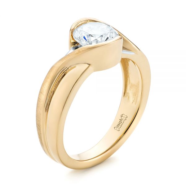 14k Yellow Gold And 14K Gold Custom Two-tone Wrapped Solitaire Diamond Engagement Ring - Three-Quarter View -  104292 - Thumbnail