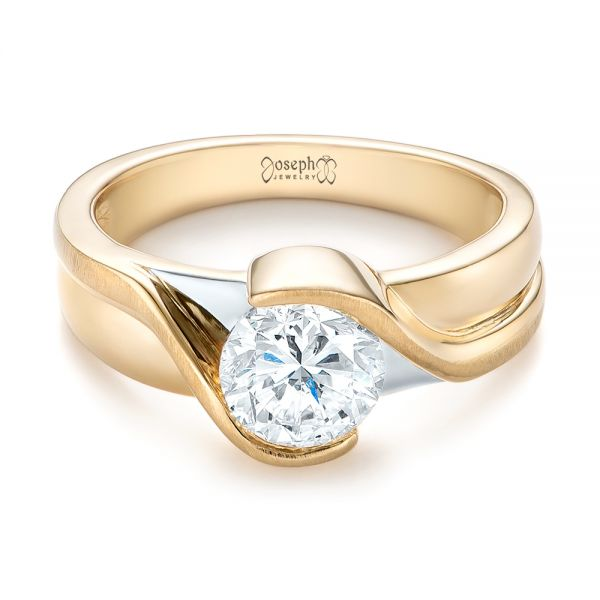 14k Yellow Gold And 14K Gold Custom Two-tone Wrapped Solitaire Diamond Engagement Ring - Flat View -  104292 - Thumbnail