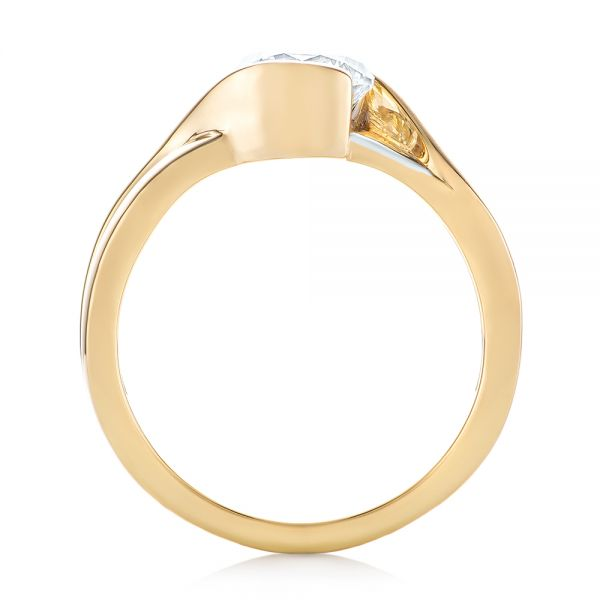 14k Yellow Gold And 14K Gold Custom Two-tone Wrapped Solitaire Diamond Engagement Ring - Front View -  104292 - Thumbnail