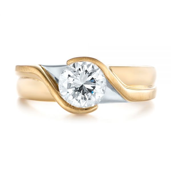 14k Yellow Gold And 14K Gold Custom Two-tone Wrapped Solitaire Diamond Engagement Ring - Top View -  104292 - Thumbnail