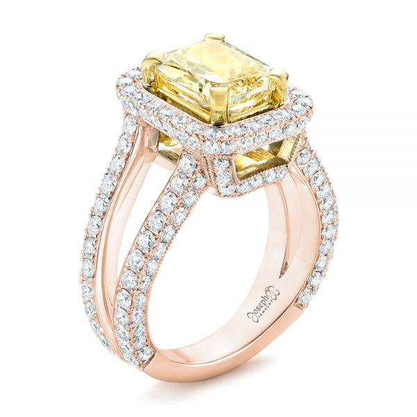 18k Rose Gold And 14K Gold 18k Rose Gold And 14K Gold Custom Two-tone Yellow And White Diamond Engagement Ring - Three-Quarter View -  102794