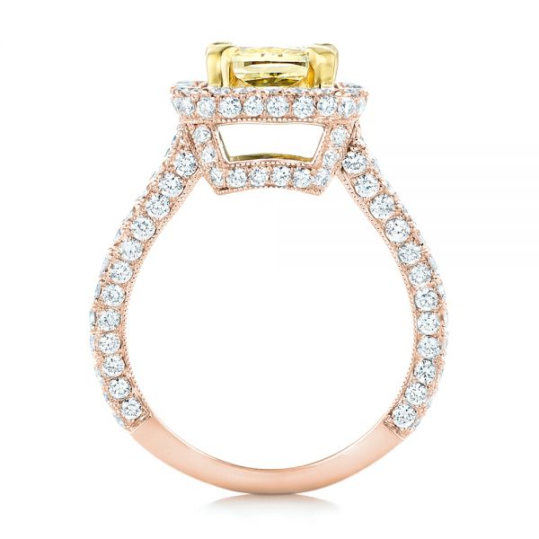 18k Rose Gold And 14K Gold 18k Rose Gold And 14K Gold Custom Two-tone Yellow And White Diamond Engagement Ring - Front View -  102794