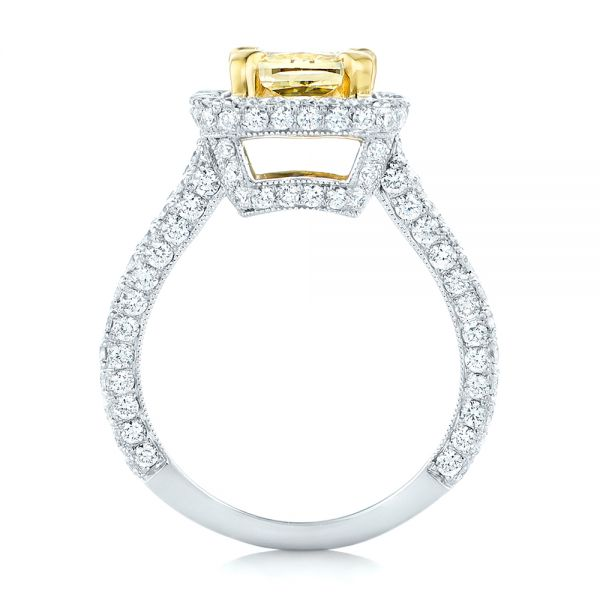 14k White Gold And 14K Gold 14k White Gold And 14K Gold Custom Two-tone Yellow And White Diamond Engagement Ring - Front View -  102794
