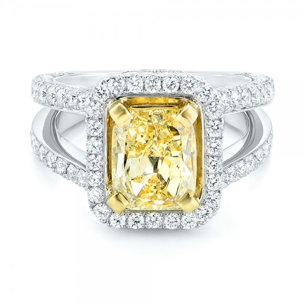 Custom Two-Tone Yellow and White Diamond Engagement Ring