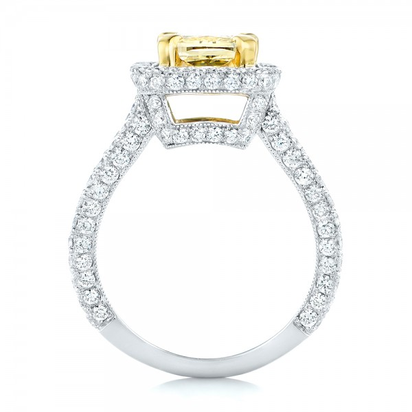 custom two tone yellow and white engagement ring