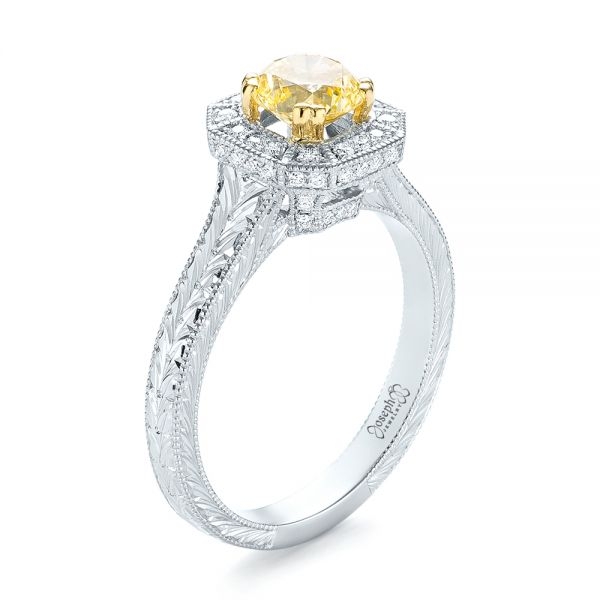 Custom Two-Tone Yellow and White Diamond Halo Engagement Ring - Image
