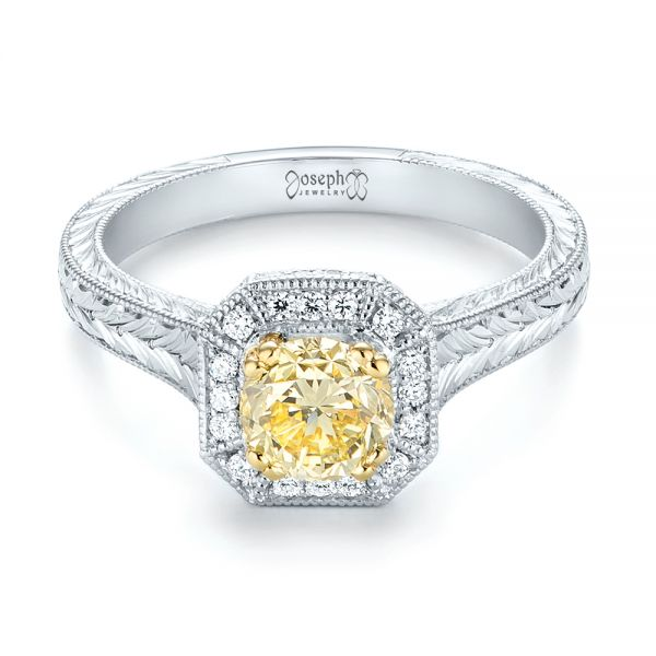 Platinum And 18K Gold Custom Two-tone Yellow And White Diamond Halo Engagement Ring - Flat View -  103270