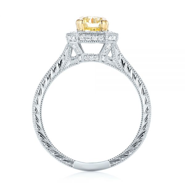 Platinum And 18K Gold Custom Two-tone Yellow And White Diamond Halo Engagement Ring - Front View -  103270