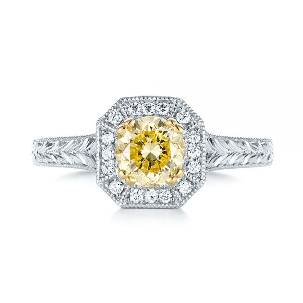 Platinum And 18K Gold Custom Two-tone Yellow And White Diamond Halo Engagement Ring - Top View -  103270