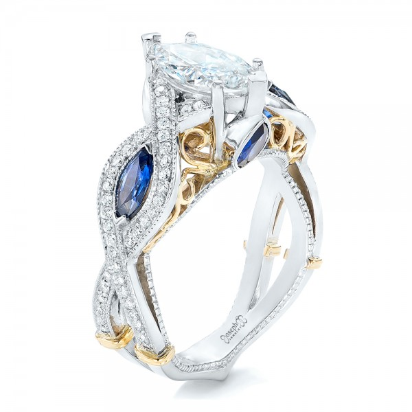 Two-Tone and Blue Sapphire and Diamond Engagement Ring