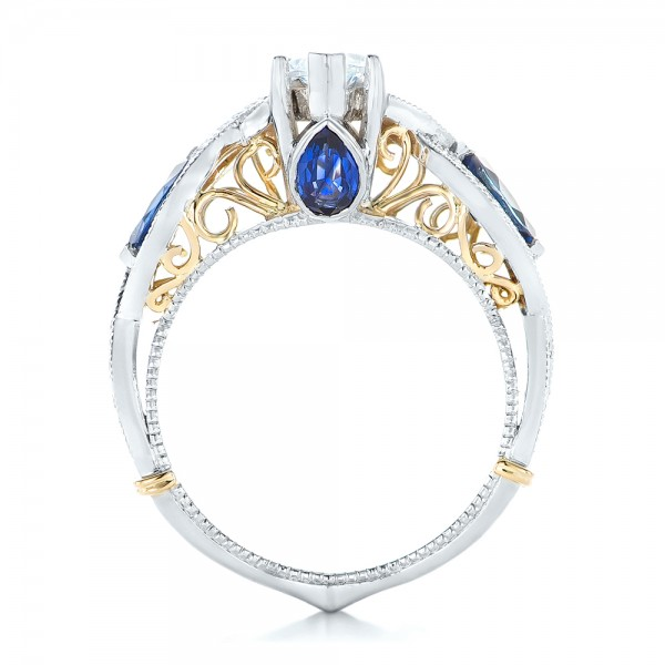 Two-Tone and Blue Sapphire and Diamond Engagement Ring - Finger Through View