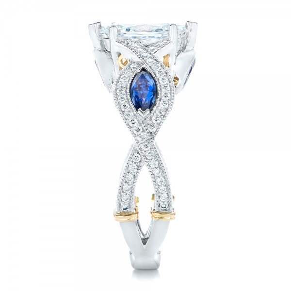 Two-Tone and Blue Sapphire and Diamond Engagement Ring - Side View