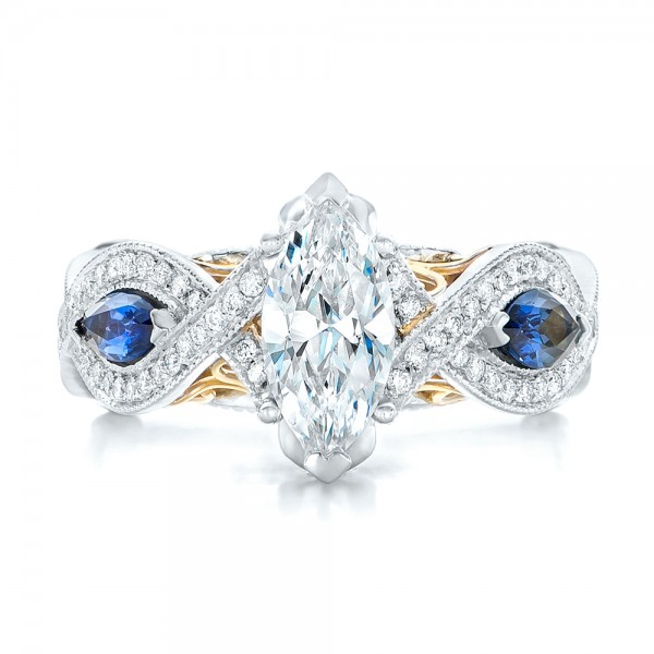 two tone and blue sapphire and engagement ring 102111