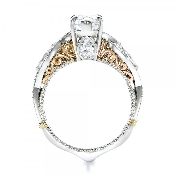 Custom Two-Tone and Marquise Diamond Engagement Ring - Finger Through View