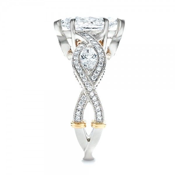 Custom Two-Tone and Marquise Diamond Engagement Ring - Side View