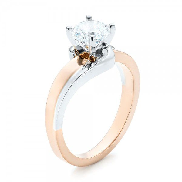 14k Rose Gold And 14K Gold Custom Two-tone Wrap Diamond Engagement Ring - Three-Quarter View -