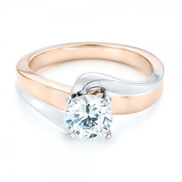 Custom Two-tone Wrap Diamond Engagement Ring - Laying View