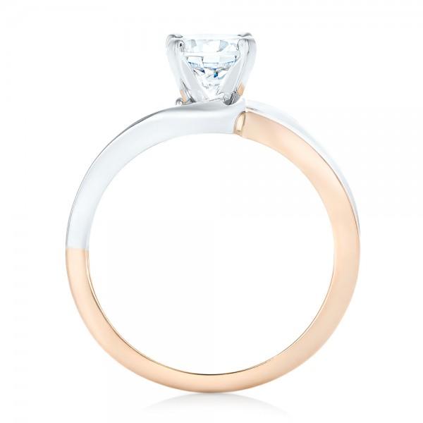 Custom Two-tone Wrap Diamond Engagement Ring - Finger Through View