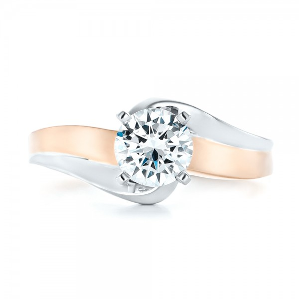 Custom Two-tone Wrap Diamond Engagement Ring - Top View
