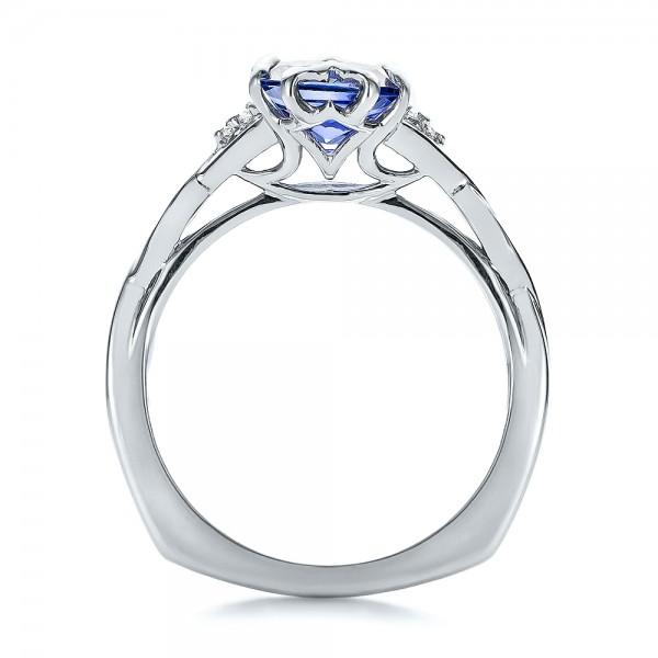 Custom Unique Setting Blue Sapphire Engagement Ring - Finger Through View