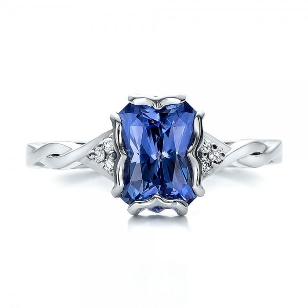 Custom Unique Setting Blue Sapphire Engagement Ring - Top View