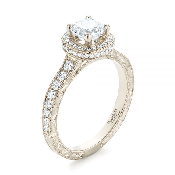 Custom Unplated Diamond Halo Engagement Ring - Image