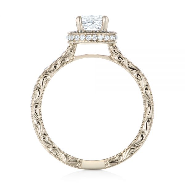 14k White Gold Custom Unplated Diamond Halo Engagement Ring - Front View -