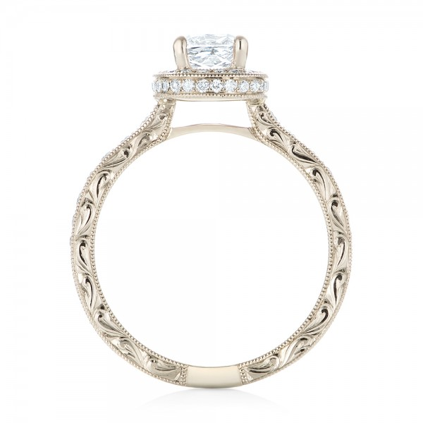 Custom Unplated Diamond Halo Engagement Ring - Finger Through View