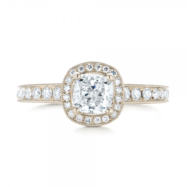Custom Unplated Diamond Halo Engagement Ring - Top View