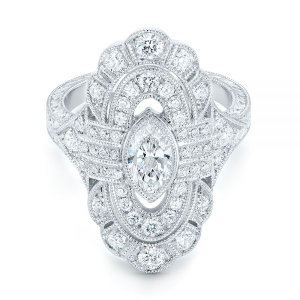 Platinum Custom Vintage Diamond Engagement Ring - Flat View -