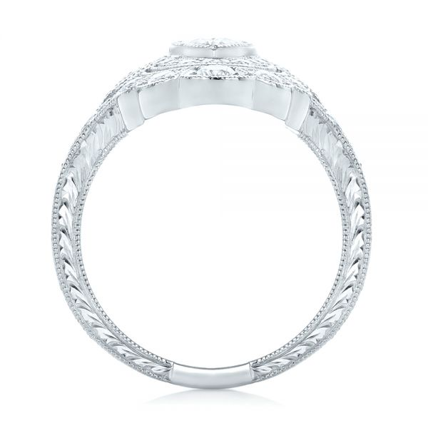 Platinum Custom Vintage Diamond Engagement Ring - Front View -