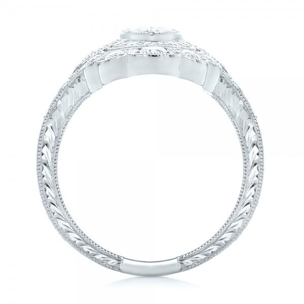 Custom Vintage Diamond Engagement Ring - Finger Through View