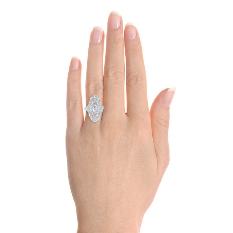 Custom Vintage Diamond Engagement Ring - Model View