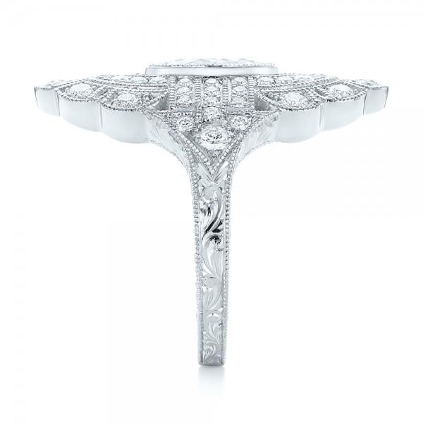 Custom Vintage Diamond Engagement Ring - Side View