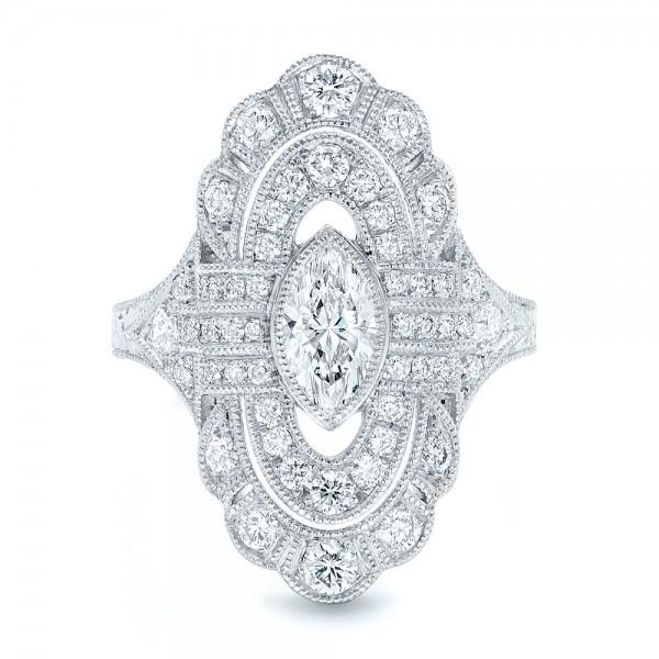 Custom Vintage Diamond Engagement Ring - Top View