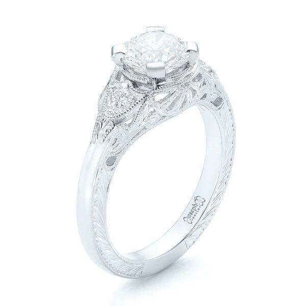 Platinum And Platinum Custom Vintage Diamond Engagement Ring