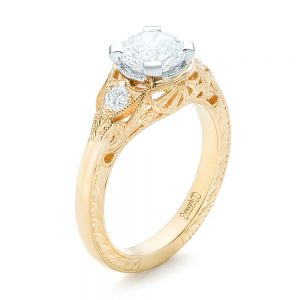 Custom Vintage Diamond Yellow Gold Engagement Ring - Image