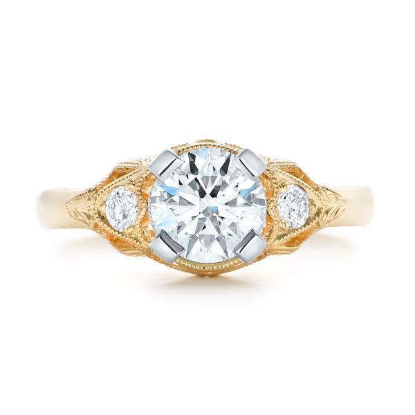 Custom Vintage Diamond Yellow Gold Engagement Ring - Top View -  102797 - Thumbnail