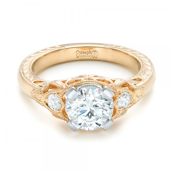 Custom Vintage Diamond Yellow Gold Engagement Ring